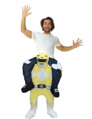 Disfraz hombre a caballito de un Power Rangers™ amarillo para adulto de Morphsuits™