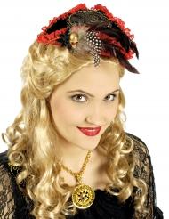 Mini sombrero pirata rojo y negro lujo mujer