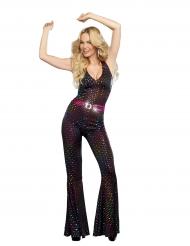Disfraz lujo Disco lentejuelas multicolores mujer