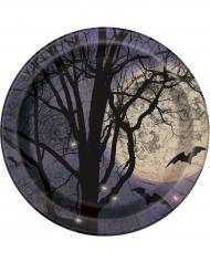 8 platos de cartón con Luna Halloween 23cm