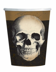 10 Vasos de cartón calavera Halloween 266 ml
