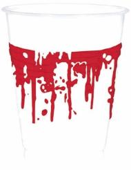 10 vasos de plástico Halloween sangriento