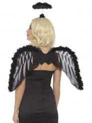 kit de ángel negro con aureolas adulto