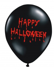 6 Globos látex negros Happy Halloween sangrientos