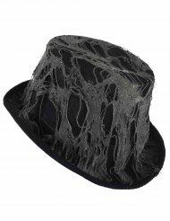 Sombrero alto negro telaraña adulto