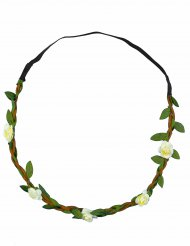 Corona de flores blancas elástica adulto