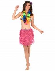 Falda hawaiana corta rosa papel adulto