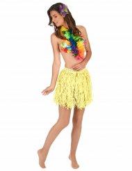 Falda hawaiana corta amarilla papel adulto
