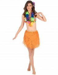 Falda hawaiana naranja papel adulto