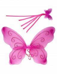 Alas mariposa rosa y varita mágica niña