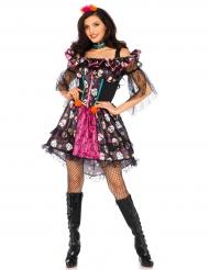 Disfraz muñeca colorida mujer Día de los muertos