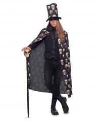 Capa calavera con sombrero alto adulto Halloween
