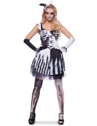 Disfraz esqueleto payaso negro y blanco mujer