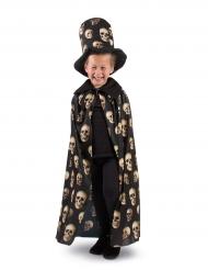 Capa calaveras con sombrero de copa niño Halloween