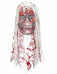 Máscara de zombie ensangrentado con pelo adulto Halloween