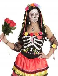 Diadema flores multicolores y listones mujer Día de los muertos
