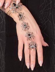Brazalete y anillo arañas mujer Halloween
