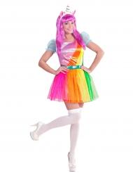 Disfraz unicornio arcoíris mujer