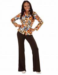 Camisa groovy burbujas años 70 mujer
