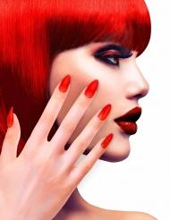 Uñas postizas rojas adhesivas adulto