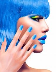 Uñas postizas adhesivas azules adulto