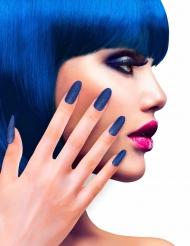 Uñas postizas adhesivas azules con brillantinas adulto