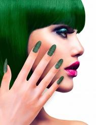 Uñas postizas adhesivas verdes brillantinas adulto