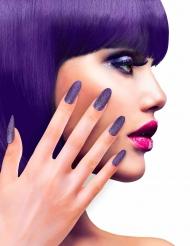 Uñas postizas violetas con brillantinas adulto