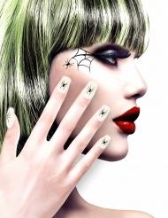 Uñas postizas adhesivas blancas con arañas mujer Halloween