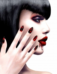 Uñas falsas negras ensangrentadas mujer Halloween