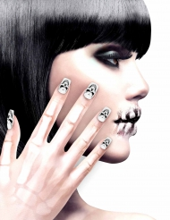 Uñas postizas adhesivas esqueleto mujer Halloween