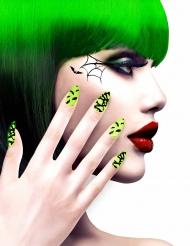 Uñas postizas adhesivas dibujos verdes Halloween