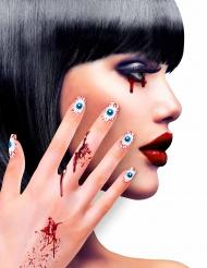 Uñas postizas adhesivas ojos adulto Halloween