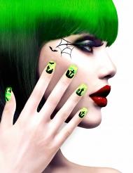 Uñas postizas adhesivas cementerio verdes adulto Halloween