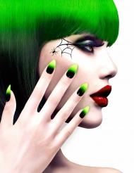 Uñas postizas negro y verde adulto