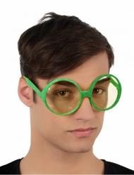 Gafas redondas brillantina verde adulto