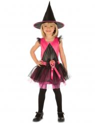 Disfraz de bruja rosa niña Día de los muertos