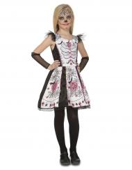Disfraz esqueleto blanco niña Día de los muertos