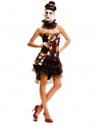 Disfraz payaso multicolor mujer
