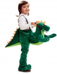 Disfraz aventurero sobre dinosaurio niño