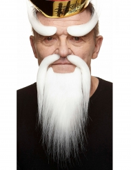 Kit bigotes chinos blancos adulto