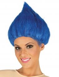 Peluca troll azul adulto
