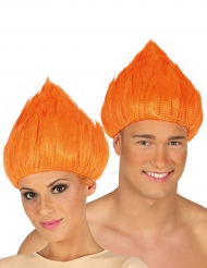 Peluca de troll naranja adulto