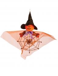 Decoración para colgar calabaza con araña 40 cm