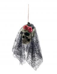 Calavera con velo para colgar Halloween 50 cm
