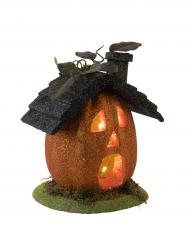 Casa calabaza luminosa Halloween 23 cm