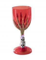 Vaso luminoso rojo mano esqueleto Halloween