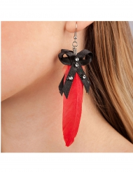 Aretes pluma roja adulto