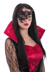 Semi máscara negra y roja con cadena mujer