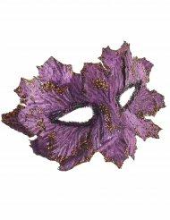 Antifaz violeta con hojas y brillantina mujer